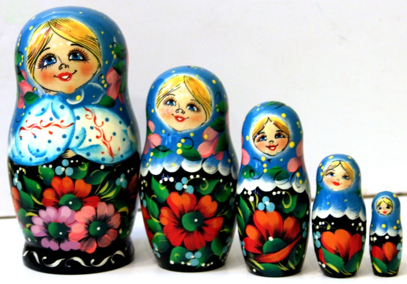 Slavic Patterns Nesting Doll 17 Cm 5pc